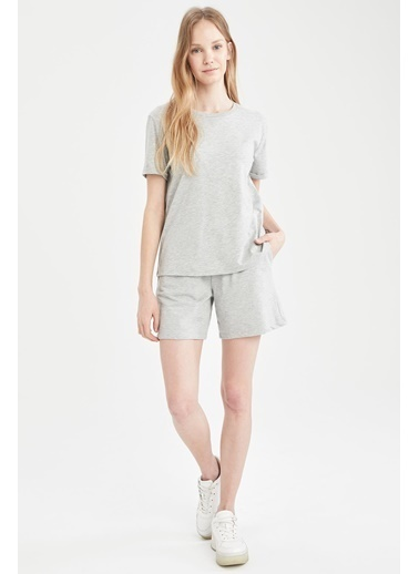 DeFacto Basic Relax Fit Tişört ve Beli Bağcıklı Şort Takım Gri